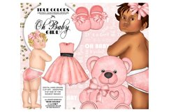 Baby Girl ClipArt Afroamerican Child Fashion Illustration Product Image 1
