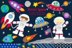 Space clipart, Space graphics & illustrations, Astronauts Product Image 1
