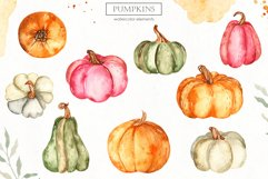 Watercolor Pumpkins. Clipart, cards, seamless patterns Product Image 2