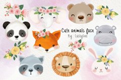 Cute animals face clipart Instant Download PNG file - 300 dp Product Image 1