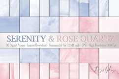 30 Ombre Serenity & Rose Quartz Watercolor Digital Papers Product Image 1