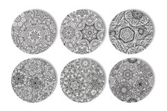 Ethnic mandalas black and white seamless patterns Product Image 2