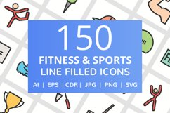 150 Fitness & Sports Filled Line Icons Product Image 1