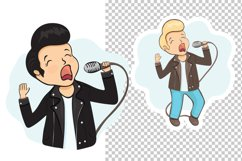 Rock'n'roll singer cartoon character, vector illustration Product Image 3