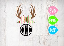 Antler Svg, Christmas Svg, Christmas Antlers, Christmas Bow, Red white and Green Bow Product Image 1