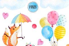 Happy fox watercolor clip art Product Image 2