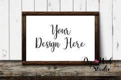 Wood Sign Mockup - Wood Frame on Distressed Rustic Shelf Product Image 1