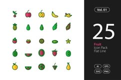 Fruit Icon Flat Line SVG, EPS, PNG Product Image 1