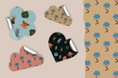 Seamless vector pattern with flowers, leaves and kingfisher Product Image 4