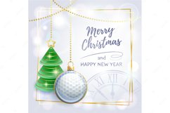 Merry Christmas. Happy New Year. Greeting card. Golf. Product Image 1