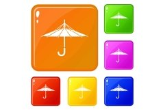 Inside out umbrella icons set vector color Product Image 1