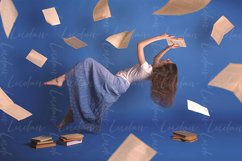 Surreal creative design, levitation. Flying woman. Product Image 1