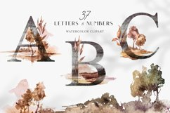 Watercolor Alphabet clipart. Floral letters and numbers Product Image 1