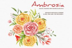 Ambrosia - Digital Watercolor Floral Flower Style Clipart Product Image 1