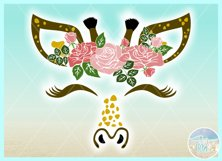 Giraffe Face with Roses Svg Dxf Eps Png Pdf Files Product Image 3