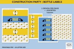 Printable birthday bottle wrappers, construction party decor Product Image 4