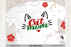 Cat Mom SVG Cat Mama SVG Cat Face SVG Cat mom with cat face Product Image 1