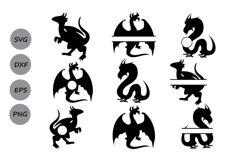 Dragon svg, Dragon monogram svg, Dragon clipart. Product Image 2