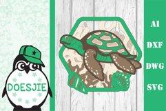 Sea turtle layered multi layer mandala sea nautical 3d svg Product Image 7