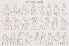 25 Realistic Half Body Poses Stamps for Procreate Product Image 3