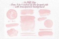 Blush Pink watercolor washes Pink stains Wedding clipart Product Image 3