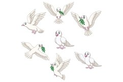 Set of Seven Cartoon Dove Character Product Image 1