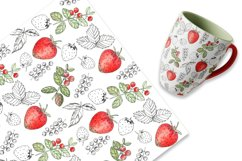 Elegant Berry Patterns. Watercolor and line art, JPG, PNG Product Image 3