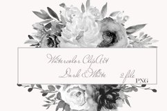 Watercolor White Dark Floral Clipart For Wedding Stationery Product Image 1
