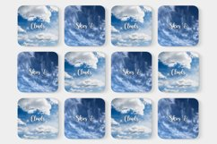 Blue Skies Clouds Digital Paper Backgrounds Textures Pattern Product Image 2