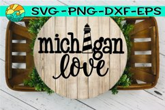 Michigan Love - Lighthouse - SVG - PNG - EPS - DXF Product Image 1