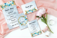Abstract Blue White Rustic Floral Wedding Invitation Set Product Image 3