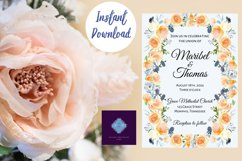 Peach and Dusk Blue Watercolor Wedding Invitation Product Image 4