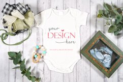 Farmhouse Baby Romper Bodysuit Styled Craft Mockup Photo Product Image 2