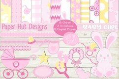 Baby Girl Clipart and Digital Papers Set Product Image 1
