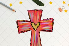 Easter cross with heart, sublimation design Product Image 2
