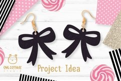 Bow Earrings SVG, Ribbon Earrings svg template, bow svg Product Image 5