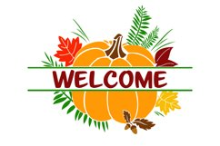 Split Fall Welcome SVG Product Image 2