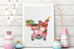 Christmas Cars Girls. Watercolor holiday clipart, vintage Product Image 6