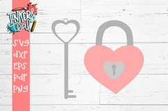 Lock and Key Valentine SVG Cut file Product Image 1