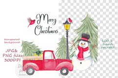 Farm fresh christmas trees, Red old car, Snowman clipart Product Image 7