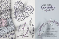 Hand drawn Lavender clipart. Valentines lavender heart. Product Image 1