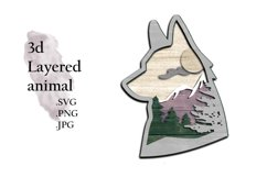 3D Layered SVG -Multilayered SVG Fox - Layered SVG Animal Product Image 1