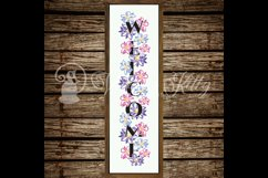 Welcome porch sign stencil svg, spring flowers vertical Product Image 8