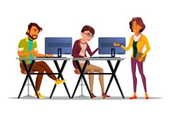 Character Supervisor Control Work Employees Vector Product Image 1