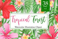 Tropical leaves and flowers clipart Product Image 1