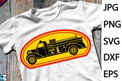 Old Fire Truck Design - Clip art / Cutting Files 1311c Product Image 1