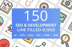 150 SEO & Development Filled Line Icons Product Image 1