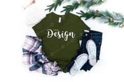 Bella Canvas Mockup 3001 Olive T-shirt Mockup Unisex Product Image 1