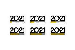 Set progress bar showing loading of 2021. Vector Product Image 1