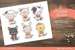 Farm Animals Characters Printable Stickers Cricut Design Product Image 2